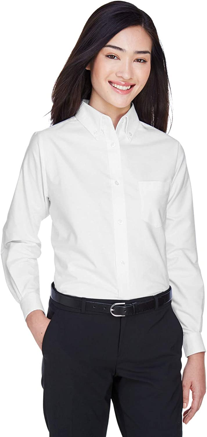 UltraClub Women's Wrinkle-Free Long Sleeve Oxford Shirt