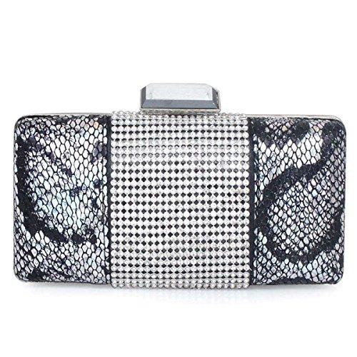 Señoras De Bolso De La Cena De PU Bolsos De Cuero Nuevas Chicas Pequeña Bolsa De Diamantes Silver