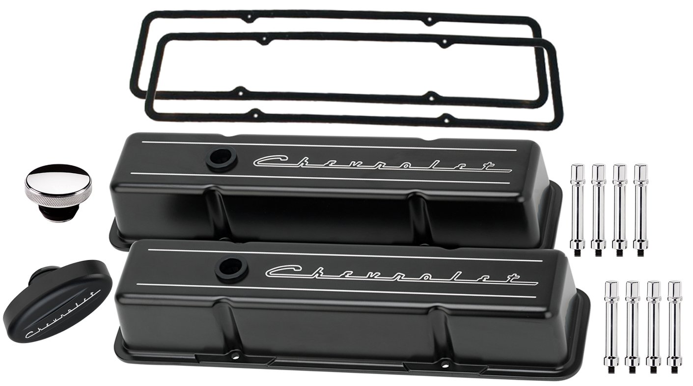 NEW BILLET SPECIALTIES SMALL BLOCK CHEVY TALL BLACK ALUMINUM VALVE COVER SET WITH CHEVROLET SCRIPT COVERS, CHEVROLET SCRIPT BREATHER, OIL FILL CAP, HEX STYLE HOLD DOWNS, & PERMALIGN GASKETS