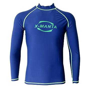 PI-PE Herren Rash Vest Rashguard Langarm Schnorcheln Schwimmen Surfen Tops Tauchen Anzug UV Schutz Beach T-Shirt Shortsleeve