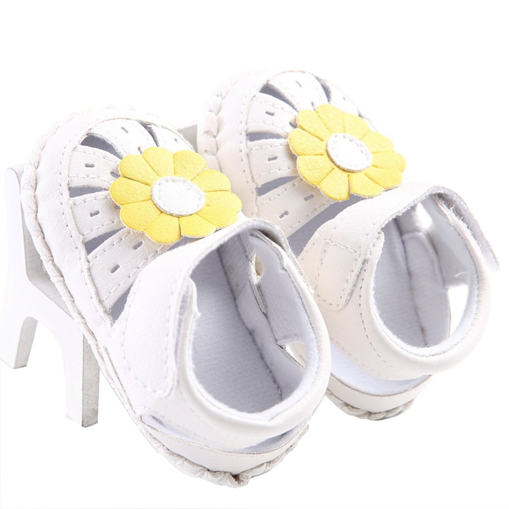 WAYLONGPLUS Prewalker Infant Summer Walking Sandal Anti-skid Soft Shoes PU Leather Big Flower