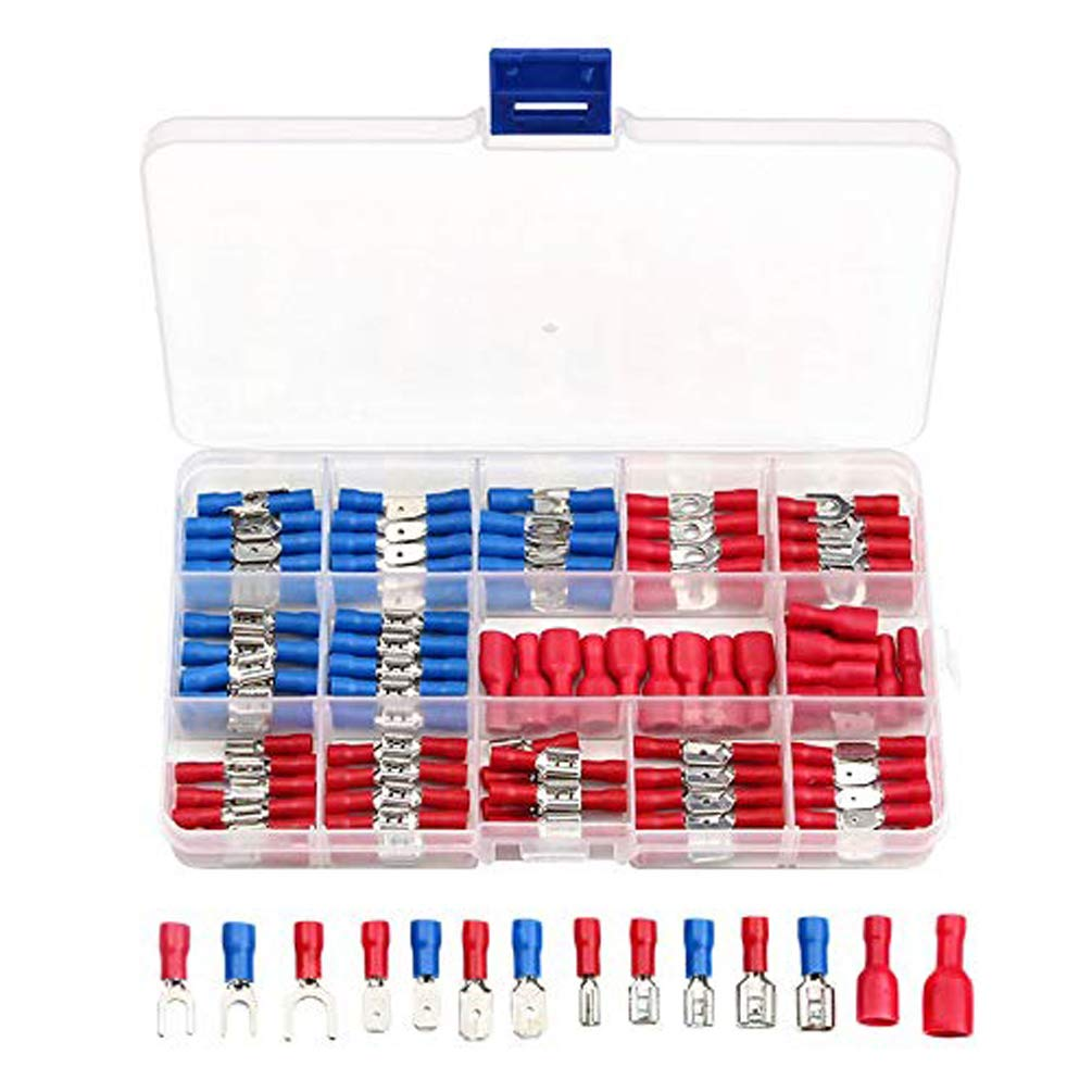 140 Pcs Assorted Insulated Electrical Wire Terminals Crimp Connectors Spade Kits