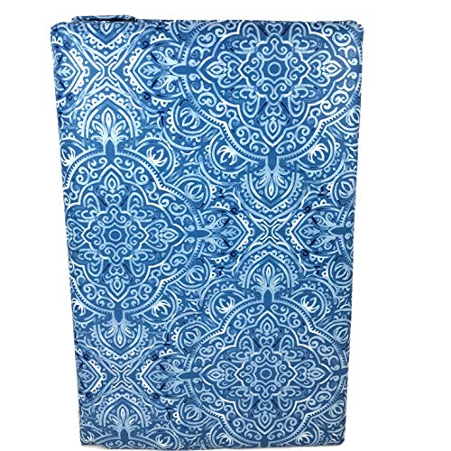 Summer Fun (Elrene) Blue Medallion Vinyl Tablecloth with Zippered Umbrella Hole (60