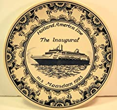 Suitable for hanging. This is the inaugural gift for the 1993 sailing of Holland America's MS Maasdam. Blue Delft Plate.