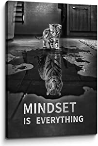 Inspirational Office Wall Decor Mindset is Everything Cat Animal Entrepreneur Poster Motivational Quote Canvas Artwork for Home Office Classroom Decor (24''W x 36''H)
