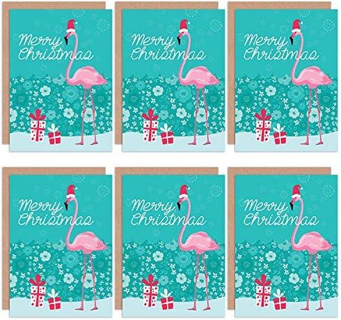 Christmas Cards 6 Pack - Flamingo Merry Christmas Set Blank Cards Cristo Cristo: Amazon.es: Hogar