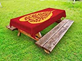 Ambesonne Leaf Outdoor Tablecloth, Artistic Design of Bodhi Tree Nature and Religion Yoga Meditation, Decorative Washable Picnic Table Cloth, 58 X 84 inches, Vermilion Ruby and Marigold