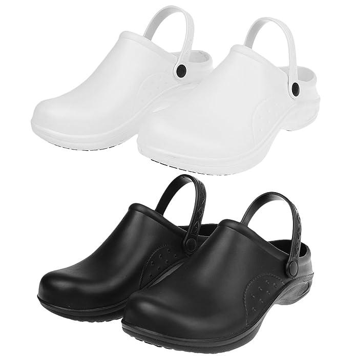 MagiDeal Zapatos de Enfermería de Cocinero de Mujeres Hombres Plástico Resistente al Agua Reduce Fatiga de Pie 2 Colores - Blanco, 40