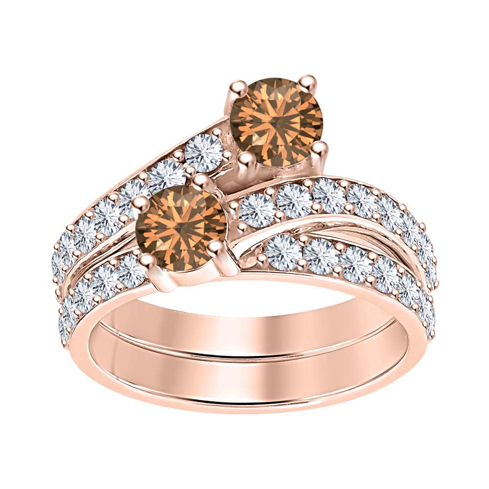 RUDRAFASHION 14K Gold Plated Round Cut Created Smoky Quartz /& Diamond Two Stone Engagement Ring for Womens