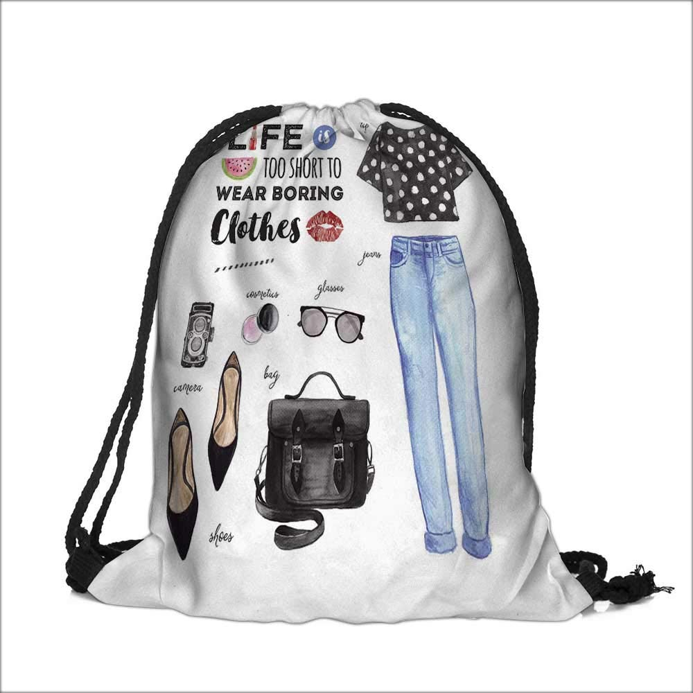 Draw pocket Polyester Backpack watercolor fashion casual outfit life is too short to wear boring clothes quote with Large Pocket and Draw Strings 15''W x 18.5''H by aolankaili (Image #6)