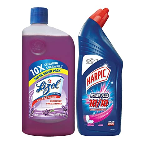 Lizol Cleaning Combo (Harpic - 1 L (Rose), Lizol - 975 ml (Lavender))