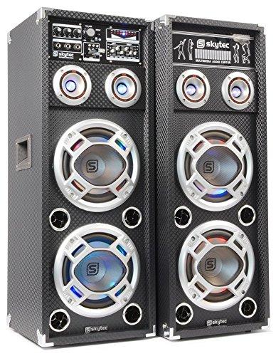 Skytec KA-26 Aktiv-Passiv Karaoke PA-Lautsprecher Boxen Set (MP3-fähiger USB-SD-Slots, 3 Mikrofon-Eingänge, AUX-IN, musikgesteuerter LED-Lichteffekt, 400W RMS) schwarz