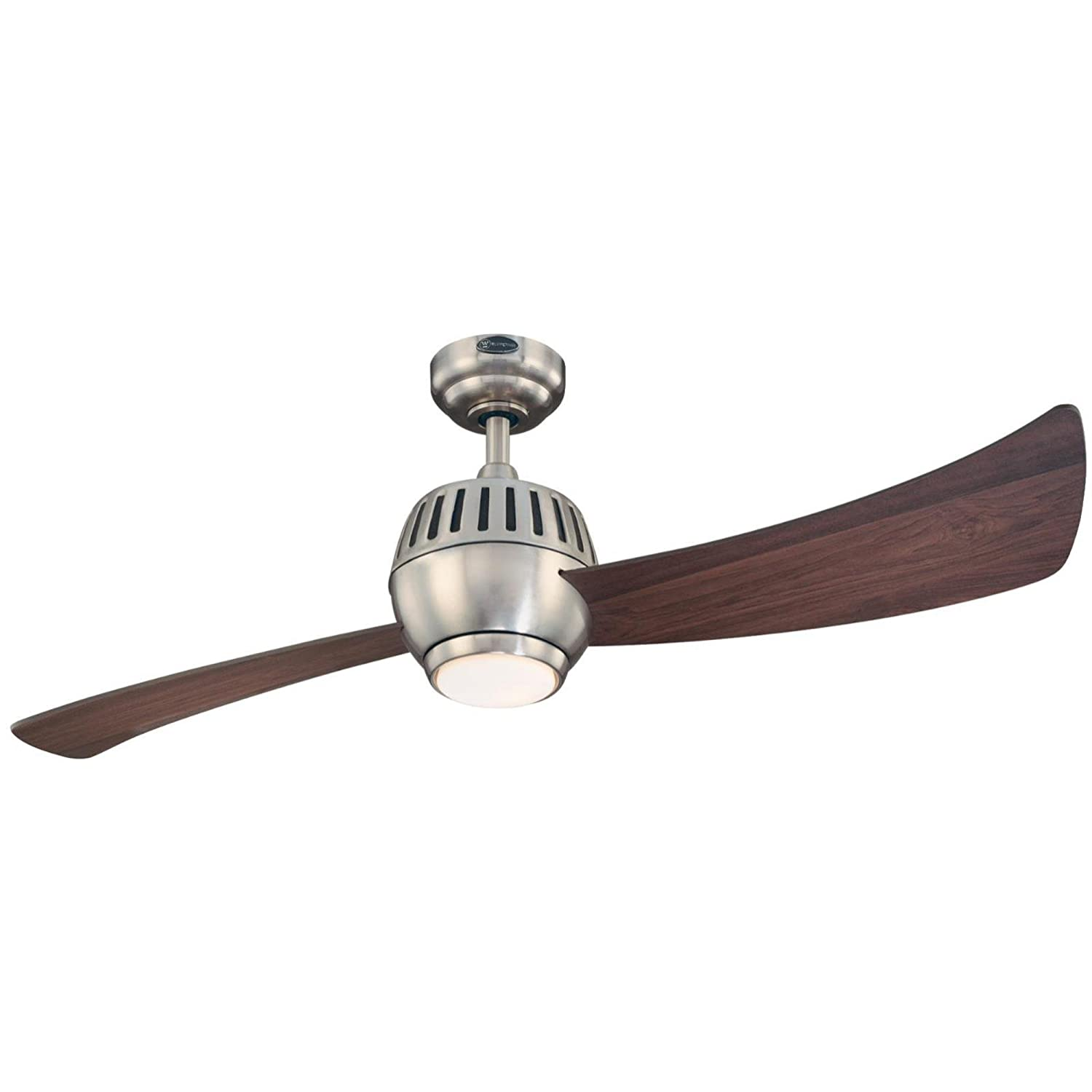 Westinghouse 7852400 Sparta One Light 52 Inch Two Blade Indoor Ceiling Fan Capacitor On Wiring Diagram For A Triple Switch Brushed Nickel With Opal Glass Reversible