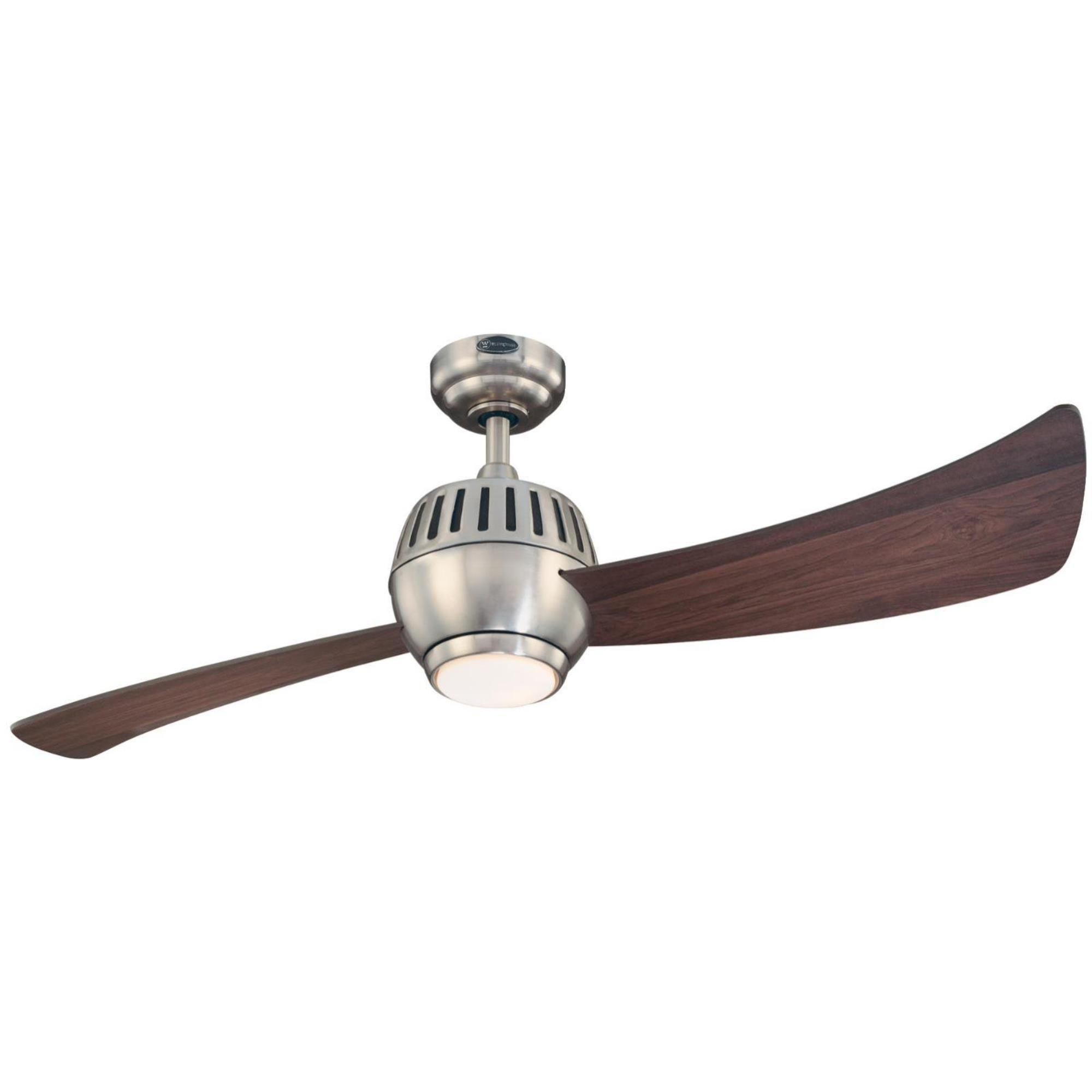 Westinghouse Lighting 7852400 Sparta One-Light 52-Inch Two-Blade Indoor Ceiling Fan, Brushed Nickel with Opal Glass