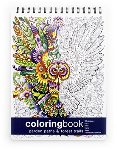 Action Publishing Coloring Book: Garden Paths & Forest Trails · Garden and Woodland Scenes, Intricate Animal and Plant Designs for Stress Relief, Relaxation and Creativity · Large (8.6 x 11.75 inches)