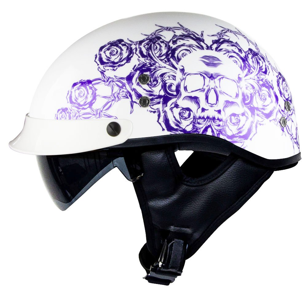 Voss 888FRP Gloss White Skull and Rose Bullet Cruiser Half Helmet with Integrated Sun Lens and Metal Quick Release