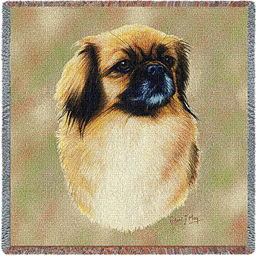 Pure Country 3318-LS Tibetan Spaniel Pet Blanket, Canine on Beige Background, 54 by 54-Inch