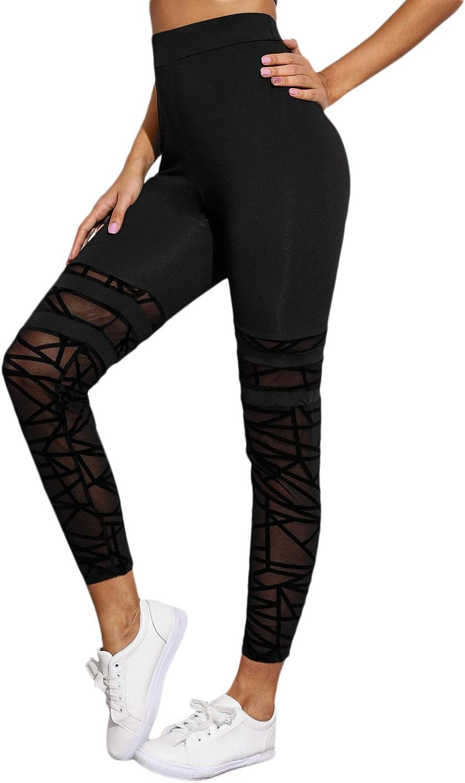 SweatyRocks Womens High Wide Waistband Tights Stretchy Yoga Skinny Legging Pants