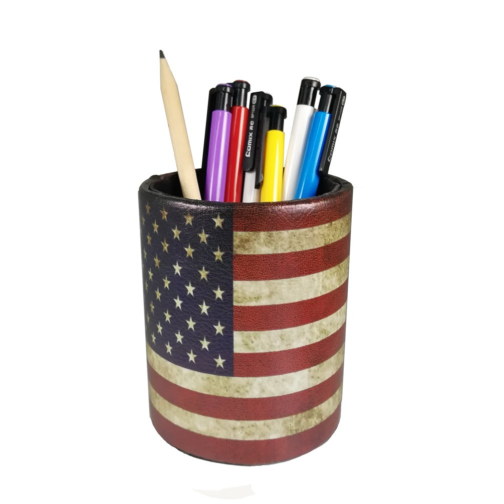 Vintage Pen Pencil Holder Cup - DreamsEden Retro Pattern Desk Organizer for Home Office Bedroom (Round/America Flag Pattern)