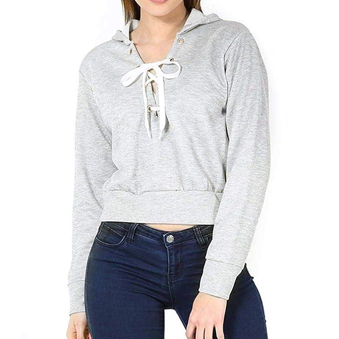 LuckES Mujer Camisa con Capucha Suelta, Suéter con Capucha de Las señoras de la Moda Sudadera de Manga Larga de Color Liso Blusa Crop Top: Amazon.es: Ropa y ...