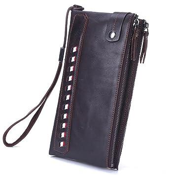 Doble cremallera doble embrague de cuero larga cartera de cuero suave embrague empresarial embrague bolsa de regalo de los hombres (Color : Marrón): ...