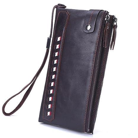 Doble cremallera doble embrague de cuero larga cartera de cuero suave embrague empresarial embrague bolsa de