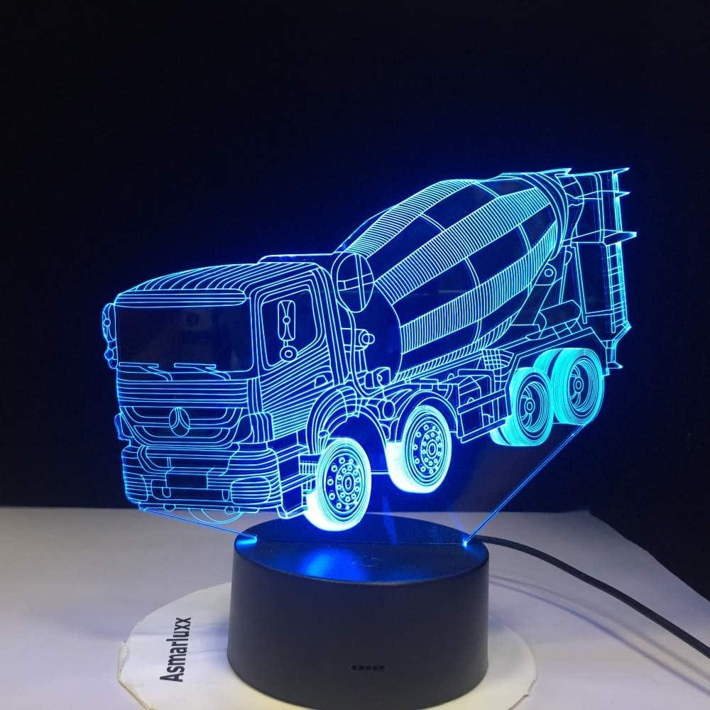 BFMBCHDJ 7 colores que cambian la luz de la noche 3D LED licuadora mesa de coche lámpara de escritorio mesilla de noche mezclador del sueño camión iluminaciones ...