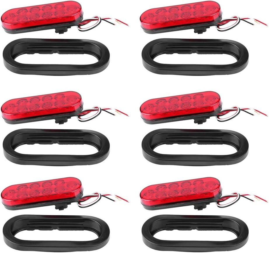 12 V 6 pezzi camion e furgoni luci di posizione laterali ovali di stop//turn//luci posteriori per rimorchio 10 LED rossi Luci a LED per rimorchio