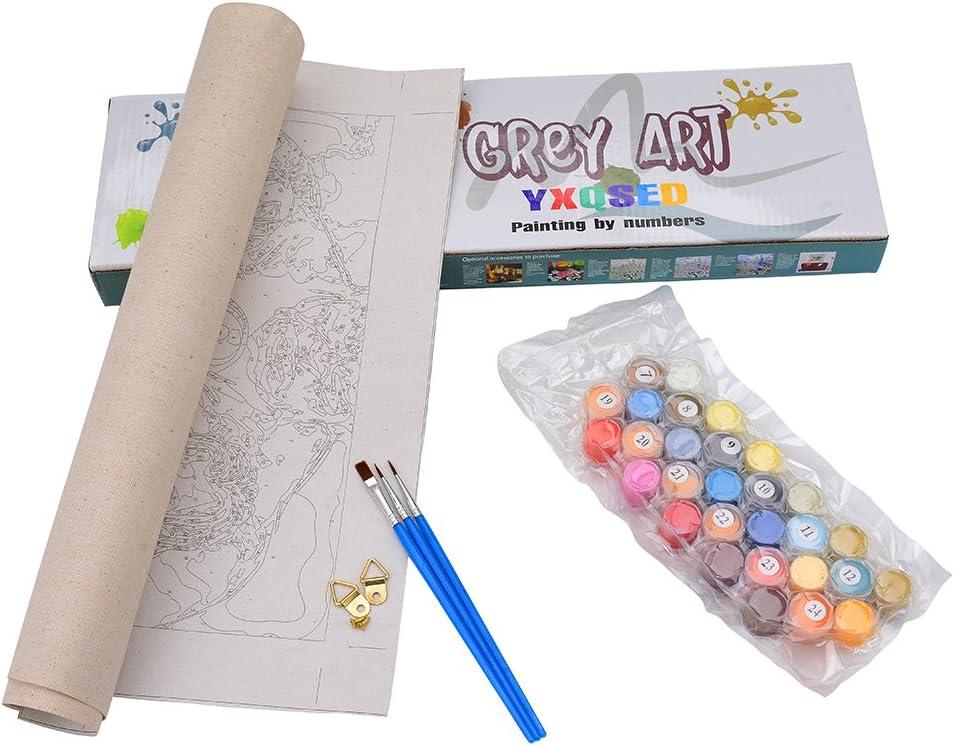 YXQSED Sin Marc DIY Pintura por N/úmeros Pint por N/úmero de Kits for Adultos Mayores Avanzada Ni/ños Joven-Playa de la Puesta de Sol 16x20 Pulgadas