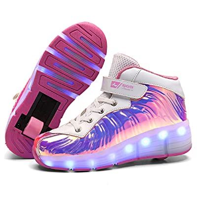 SDSPEED 7 Colors LED Rechargeable Kids Roller Skate Shoes with Single Wheel Shoes Sport Sneaker : Sports & Outdoors