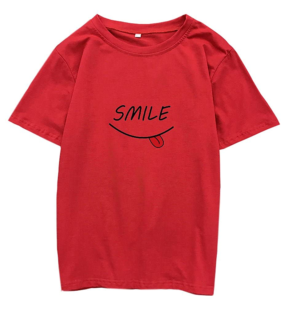 Fashionoly Harajuku T-Shirt Cute Smiley Preppy Face Kawaii Camisetas Tops Tees at Amazon Womens Clothing store: