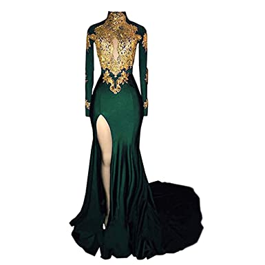 265a930132c8 Veilace Women's Mermaid High Neck Prom Dress 2018 New Gold Appliques Long  Sleeves Split Evening Gowns at Amazon Women's Clothing store: