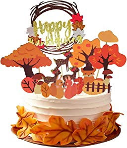 Thanksgiving Party Supplies Harvest Cake Toppers Decorations, 21PCS Autumn Pumpkin Turkey Cupcake Picks Kit Parties Decor, Fall Maple Leaf Food Cake Snack Bake Dessert Favors Holiday