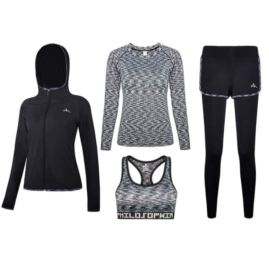 Lilongjiao Damen Sportanzug Sport-BH + Enge Hosen elastische Fitness-Kleidung Yoga-Laufbekleidung Fitness-Kleidung vierteilig