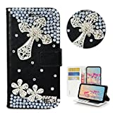 STENES LG V20 Case - Stylish - 3D Handmade Bling Crystal Cross Flowers Design Wallet Credit Card Slots Fold Stand Leather Cover for LG V20 - Silver