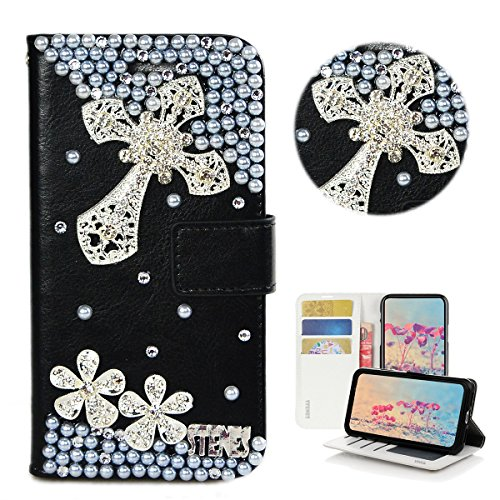 STENES Bling Case Compatible with Moto E4 Plus - Stylish - 3D Handmade Crystal Cross Flowers Design Magnetic Wallet Leather Cover Compatible with Moto E4 Plus - Silver