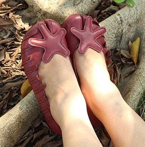 Retro zapatos cuero pie dedo zapatos de individuales de solos punta suave suave de mujeres del las KUKI FRndqxF