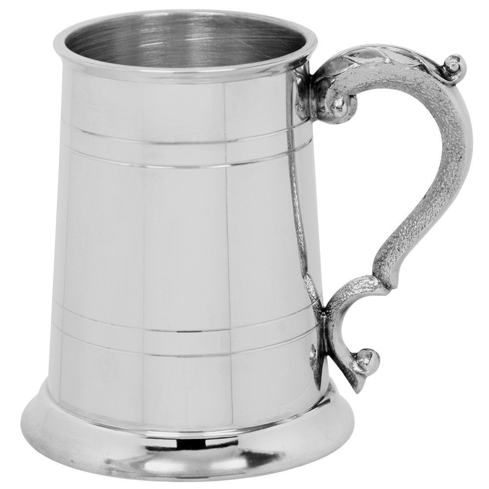 English Pewter Company 1 Pint Straight 2 Line Pewter Beer Mug Tankard with Georgian Style Handle [EP003]