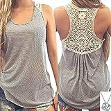 Lookatool Women Summer Lace Vest Top Short Sleeve Blouse Tank Tops T-Shirt (L, Gray)