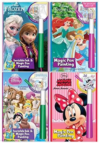 Disney's Characters Magic Pen Painting Activity Books, Set for Girls with ZIPPER BAG. Includes: Sisters Forever Frozen, Princess Happily Ever After and Enchanted Stable, Minnie Moments coloring - Pen Disney Magic