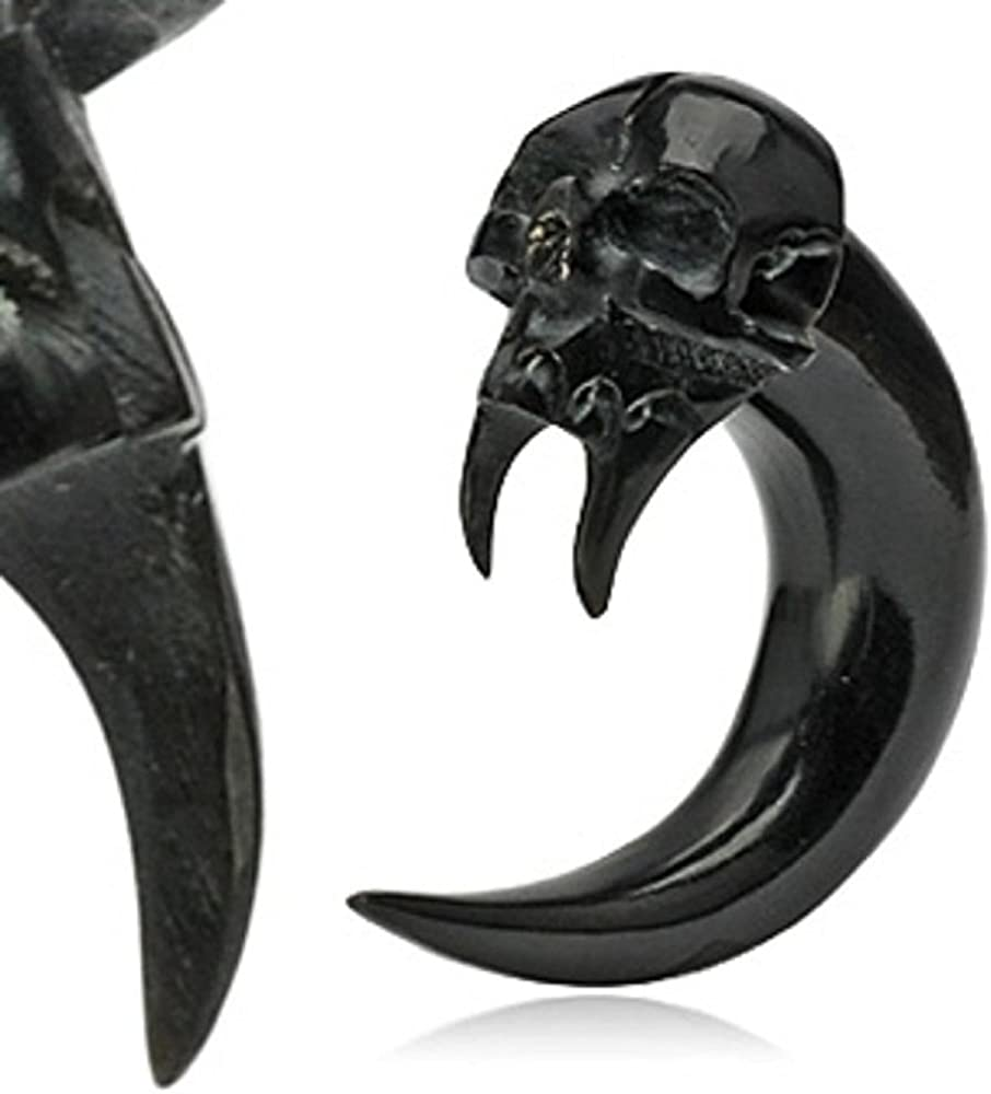 Angel of Death Skull Hand Carved Organic Horn WildKlass Taper (Sold as a Pair)