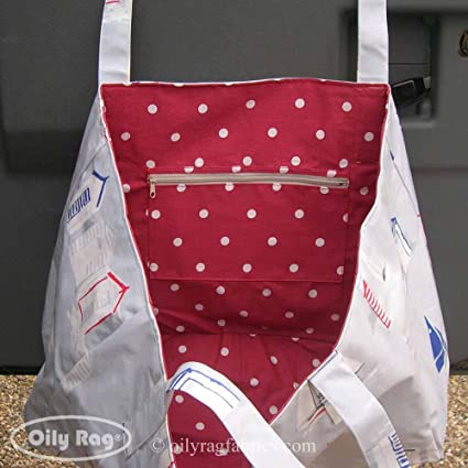 Casetas de playa bolsa de la compra por huellas de trapo de telas (3 tamaños