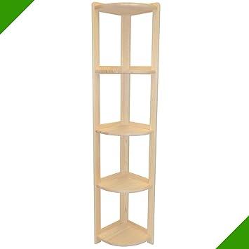 162 x 30,5 x 30,5 cm, gran estantería esquinera con bordes pulidos, estantería de madera, estantería de pie, estantería de almacenamiento, estantería ...