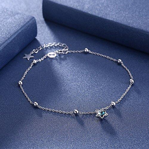 Trista99 Anklet for Women & Girls Adjustable Foot Ankle Bracelet with Swarovski Element Crystals (Blue Star Crystal) by Trista99 (Image #5)