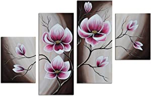 Noah Art-Rustic Floral Art, Spring Blooming Tulips Flower Artwork 100% Hand Painted Modern Flower Oil Paintings On Canvas, 4 Panel Framed Purple Flowers Wall Art for Bedroom Home Decor