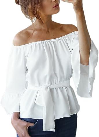 BOLAWOO Camisas Mujer Verano Elegantes Vintage Hombros Descubiertos Cuello Barco 3/4 Manga De La Trompeta Slim Fit con Volantes Fashion Casual Camisetas Blusa Blusas Tops: Amazon.es: Ropa y accesorios