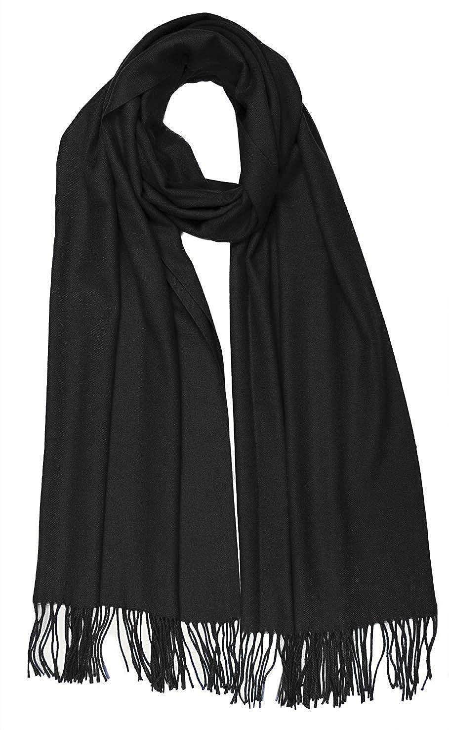 Black Women Solid Soft Cashmere Feel Shawl Wrap Scarf