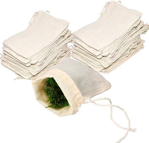 Bolsas de muselina de algodón con cordón, 50 bolsas de filtro de ...