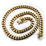 Big Miami Cuban Link Chain NECKLACE 14MM Heavy 18K Gold Solid Iced Diamond cut Clasp Pendant Men hip Hop