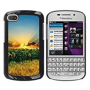 Be Good Phone Accessory // Dura Cáscara cubierta Protectora Caso Carcasa Funda de Protección para BlackBerry Q10 // Nature Sunflowers
